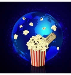 Popcorn and movie ticket vector image