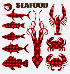 Set of different stylized seafood vector