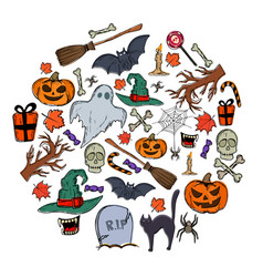 set of halloween icons in circle shape background vector image