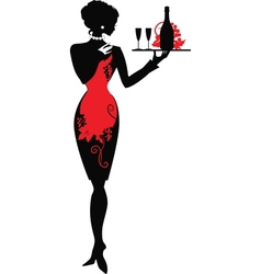 Silhouette of waiter woman vector image