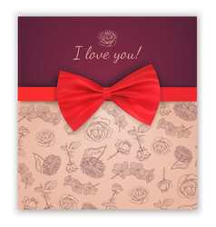 sketch pattern and red ribbon bow vector image vector image
