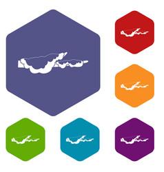 Snow icons set hexagon vector