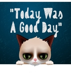 Today was a good day card with cute grumpy cat vector