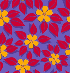 Tropical pattern red leafs vector