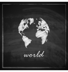 Vintage with the world map on chalkboard vector