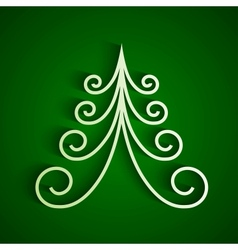 White 3d paper christmas tree vector image vector image