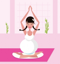 Yoga pregnant woman vector image vector image
