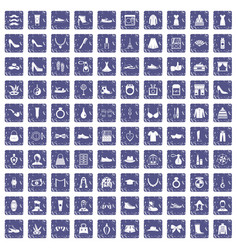 100 vogue icons set grunge sapphire vector
