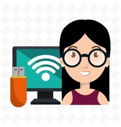 Woman computer wifi usb vector