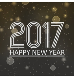 Happy new year 2017 on dark night bokeh background vector