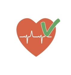 Heartbeat ok icon vector