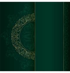 Gold vintage floral patterns on green vector image