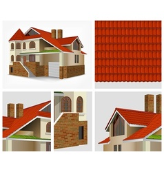 Details of house in section vector