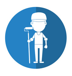Man painter with roller and cap shadow vector
