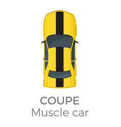 Muscle car coupe top view flat icon vector