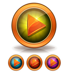 Golden play buttons for game ui vector