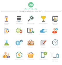 Set of full color seo and development icons set 2 vector