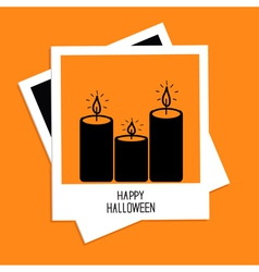 Instant photo with candle set happy halloween card vector