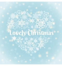 Lovely christmas texts on heart shape snowflakes vector