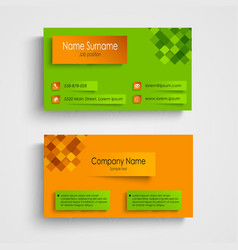 Business card with orange green design template vector