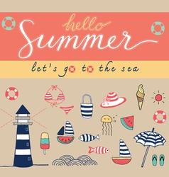 Hello summer colorful vector