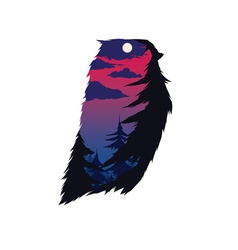 Owl with double exposure effect vector