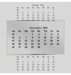 Calendar month for 2016 pages november vector