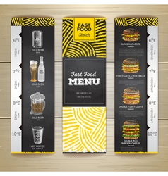 Set of vintage chalk drawing fast food menu banner vector