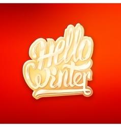 Hello winter text lettering for greeting card vector