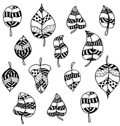 Set of zentangle-style leaves vector image