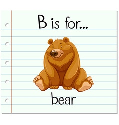 Flashcard letter b is for bear vector