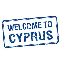 Welcome to cyprus blue grunge square stamp vector