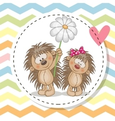 Greeting card with two hedgehogs vector