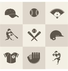 baseball flat icons vector image vector image