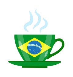brazilian coffee icon flat style green cup with vector image vector image