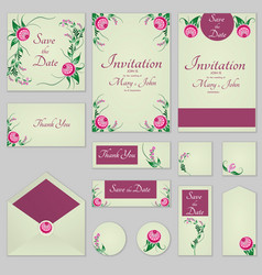 Collection greeting cards with stylized burgundy vector
