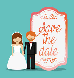 Cute couple save the date invitation vector