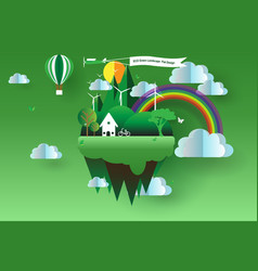 eco green landscape flat design vector image