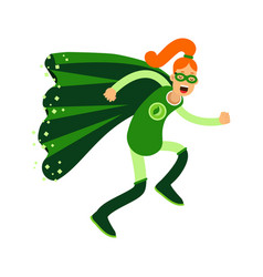 Ecological superhero redhead woman running eco vector