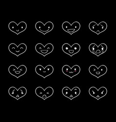 Emoticons doodle hearts black 2 vector