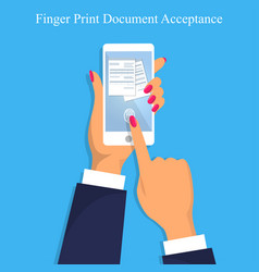 finger print document acceptance vector image