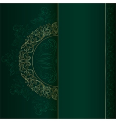 Gold vintage floral patterns on green vector image