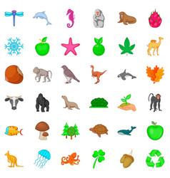 Green plant icons set cartoon style vector