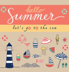 hello summer colorful vector image vector image