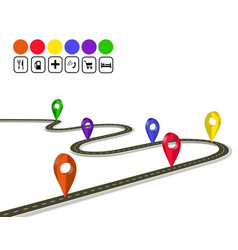 infographics 3d mark navigator winding road with vector image