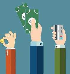 Money in hands icons vector