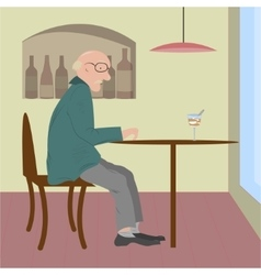 Old woman sitting in a cafe vector