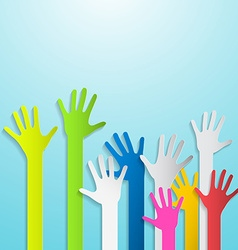 Paper Cut Colorful Hands on Blue Background vector image