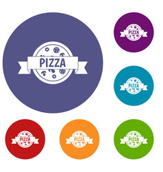 Pizza label with ribbon icons set vector