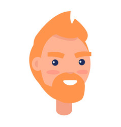 Red male character face front view vector